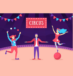 cartoon color characters people with circus show vector image