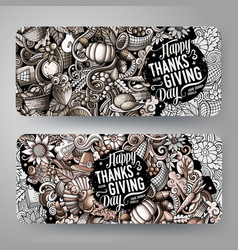 cartoon cute hand drawn doodles thanksgiving vector image