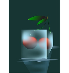 Cherry and ice vector