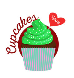 chocolate cupcake with green cream vector image