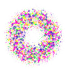 Circle of glitter confetti particles tor explosion vector