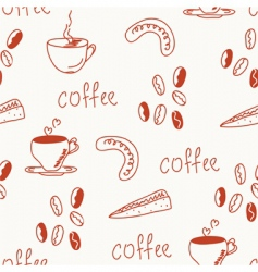 coffee doodle funny seamless vector image