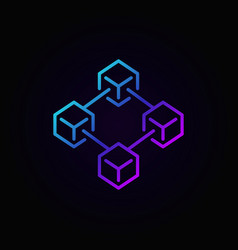 Colorful blockchain technology line icon or vector