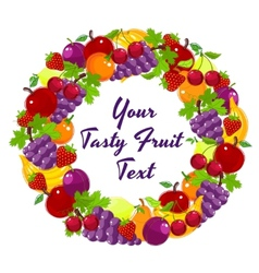 Colorful wreath of fresh fruit vector