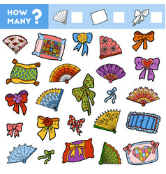 counting game for children count how many pillows vector image