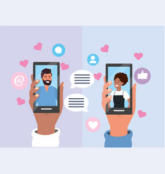 couple chat bubble with smartphone communication vector image