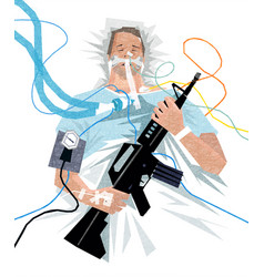 Covid-19 patient on ventilator with assault rifle vector