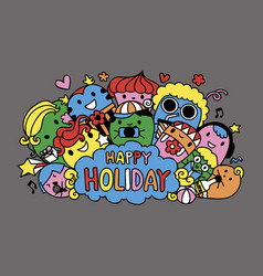 cute monster and friends are on holiday vector image
