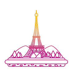 degraded line eiffel tower with mountainsand trees vector image