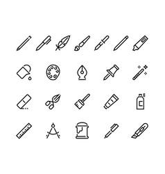 Drawing tools line icons minimal pencil pen brush vector