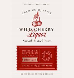 Family recipe cherry liquor acohol label abstract vector