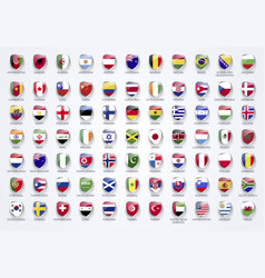 Flags of the world in shield form with names vector