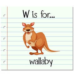 Flashcard letter w is for wallaby vector