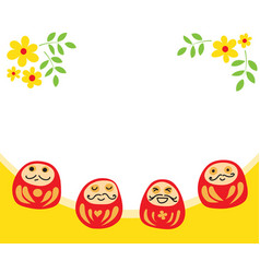 four daruma doll with flower decorate in white vector image