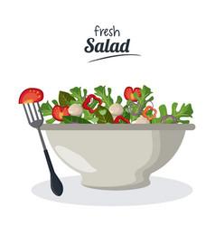 Fresh salad bowl with vegetables menu meat fork vector