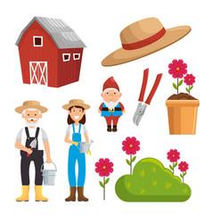 Gardening equipment set flat icons vector