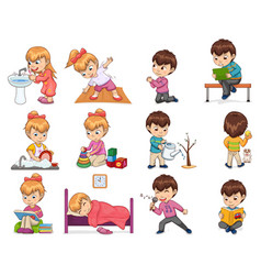 Girl and boy collection set vector