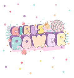 girls power colorful stylish lettering vector image