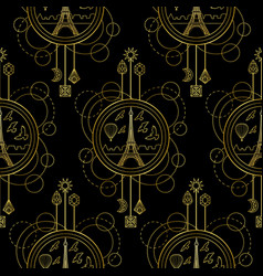 gold eiffel tower seamless pattern vector image