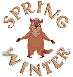 groundhog day spring or winter text greeting card vector image