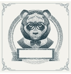 Halftone hipster panda with black Dots vector image