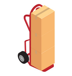 Hand truck with brown cardboard boxes package vector