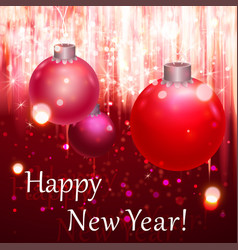 happy new year greeting card blurred background vector image