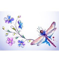 Horizontal card with dragonfly and blue flowers vector