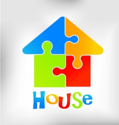 House Puzzle Logo vector image