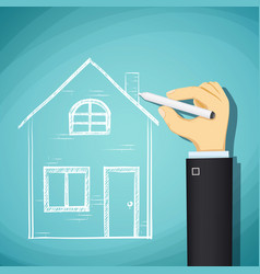 human hand draws a sketch house vector image