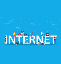 internet concept young people with tablet pc vector image