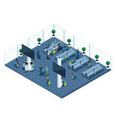 Isometric of a large airport hall waiting room vector