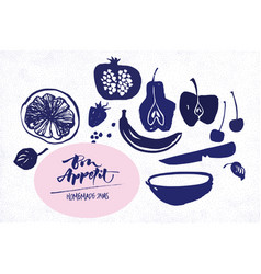 Jam labels template fruit silhouettes vector