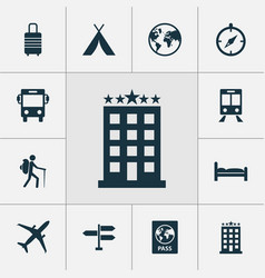 Journey icons set collection of planet suitcase vector