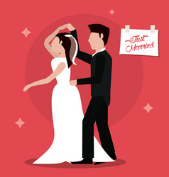 just married dancing couple happy vector image
