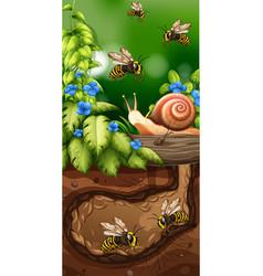 Landscape design with bees underground vector