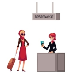 Line to airport check-in passenger and baggage vector