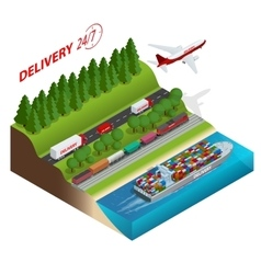 Logistics network Aair cargo trucking rail vector