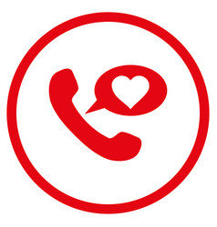 Love phone message rounded icon vector