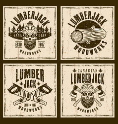 lumberjack brown emblems on grunge backdrop vector image