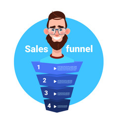 Man beard portrait manager sales funnel with steps vector