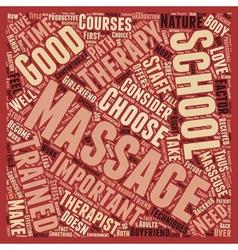 Massage school text background wordcloud concept vector