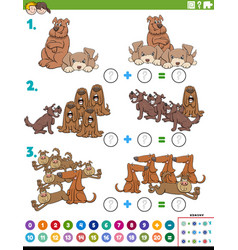 Math addition educational task with dog characters vector