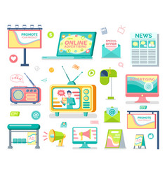 Media and outdoor advertising isolated objects vector