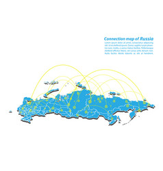 Modern of russia map connections network design vector