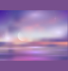 Night blurred seascape with moon and stars vector