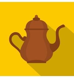 Oriental turkish kettle for tea icon flat style vector