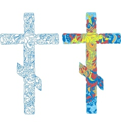 Orthodox ornamented cross for Easter holiday vector image