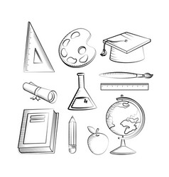 outline set education creative elementary vector image
