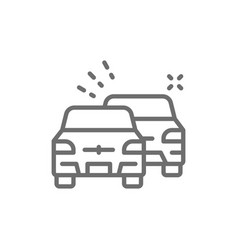 overtaking car traffic jam line icon vector image